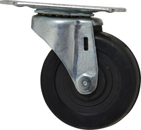 4 Wheel Dia 5-1//16 Mount Height Swivel Delrin Bearing 4-1//8 Plate Length 3-1//8 Plate Width 4 Wheel Dia 1-3//8 Wheel Width 5-1//16 Mount Height 4-1//8 Plate Length Wagner Plate Caster 1-3//8 Wheel Width 200 lbs Capacity Soft Rubber Wheel E.R