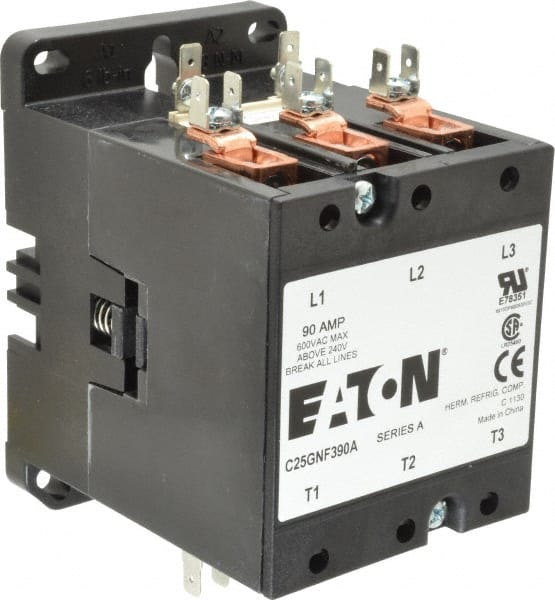 3 pole, 90 amp inductive load, 110 to 120 coil vac at 50/60 hz,  nonreversible definite purpose contactor