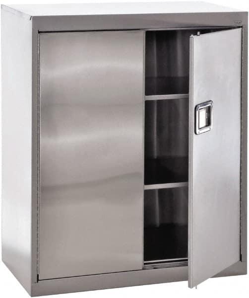 Sandusky Lee 3 Shelf Locking Storage Cabinet   Stainless Steel, 36