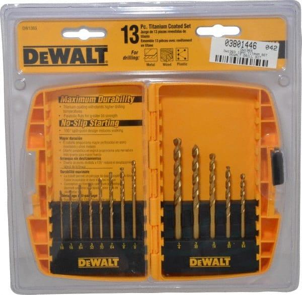 Dewalt 1 16 To 1 4 135 Point Titanium Finish High Speed Steel Jobber Length Drill Bit Set 03801446 Msc Industrial Supply