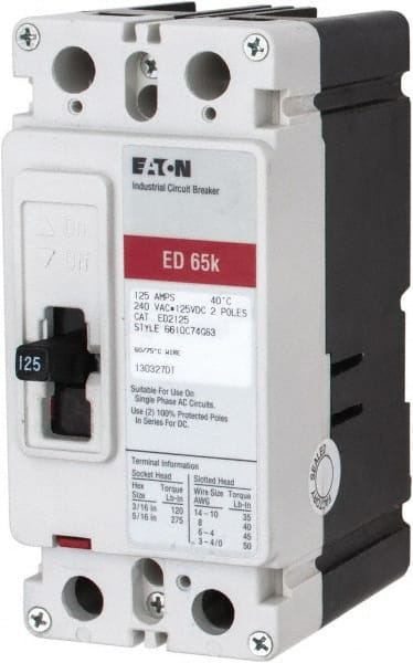 Eaton Cutler Hammer 125 Amp 125 Vdc 240 Vac 2 Pole Molded Case Circuit Breaker 04882734 Msc Industrial Supply