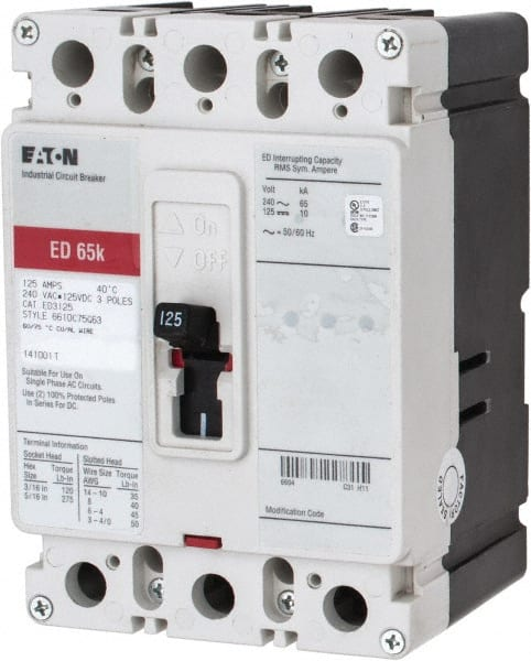 Eaton Cutler Hammer 125 Amp 125 Vdc 240 Vac 3 Pole Molded Case Circuit Breaker 04882783 Msc Industrial Supply