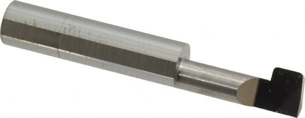 1.27 mm 0.050 Groove Width 51 mm Solid Carbide Tool 0.240 2.0 Shank Diameter 0.76 mm Minimum Groove Diameter 0.2500 Overall Length 6.4 mm Micro 100 QFG-230-030 Quick Change Face Grooving Tool 6.10 mm 0.030 Projection