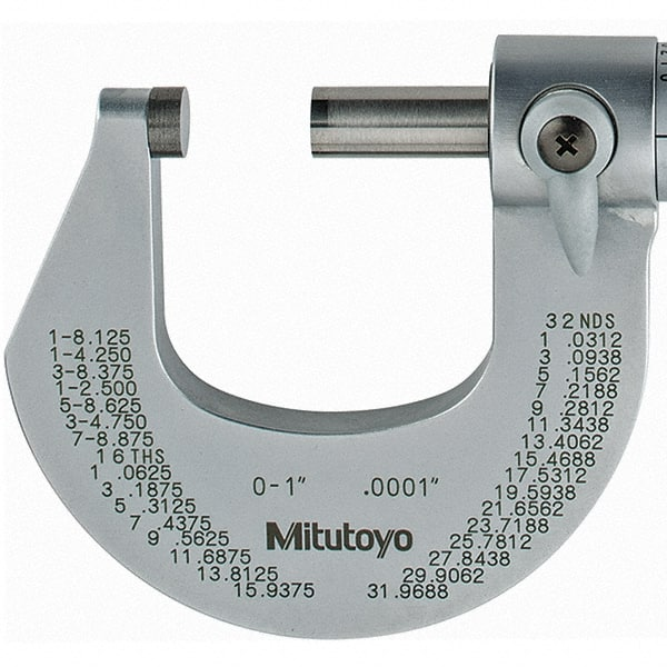 "0-1/"" Mitutoyo 101-113 Outside Micrometer Ratchet Stop Satin-chrome Finish"