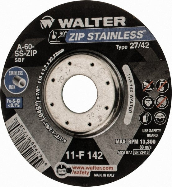 32 Pack Depressed Center Wheel 4 1//2 in Dia Hardness Grade N 7//8 Arbor 1//4 in Thick