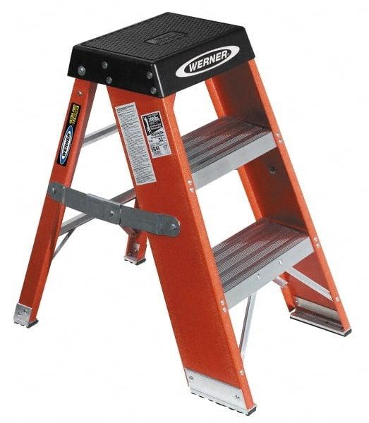 Werner 3u0027fiberglass 375lb Cap Ultra Pro Step Stands SSF03  sc 1 st  MSC Industrial Supply & 3 Step Ladder | MSCDirect.com islam-shia.org