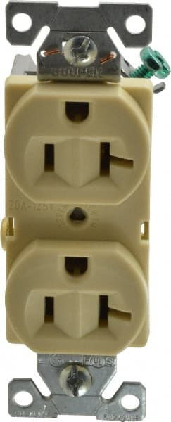 Ivory Back and Side Wire New Cooper Wiring BR20V Duplex Receptacle