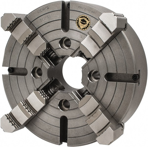 """Bison 12/"""" 4-Jaw Semi Steel Body Independent Lathe Chuck w//2 Piece Solid Jaws"""