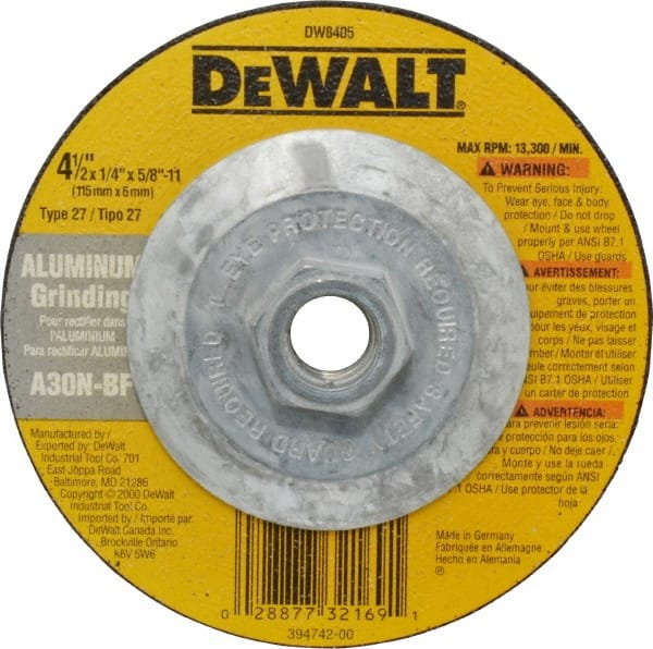 6 in Dia Depressed Center Wheel Hardness R 1//4 in Thick 24 Grit 39 Pack Type 27