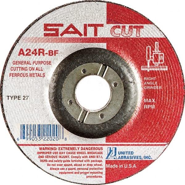 Depressed Center Wheel 75 Pack 7//8 Arbor 1//4 in Thick 4 1//2 in Dia Hardness Grade S