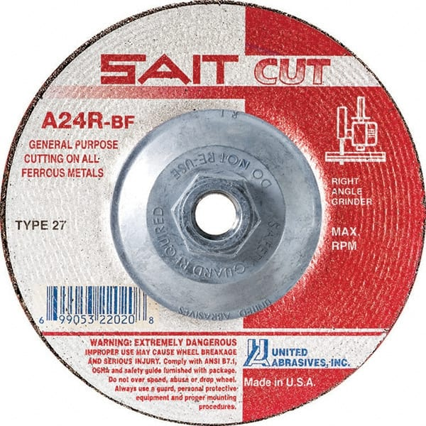 37 Pack 24 Grit Alum 7 in Dia 1//4 in Thick Oxide Depressed Center Wheel