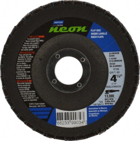 "NORTON NEON R766 FLAP DISC 4 1//2/"" x 7//8/"" 40 GRIT 66623399004 TYPE 27 METAL GRIND"