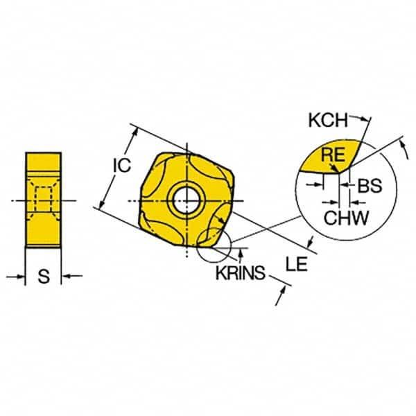 Sandvik Coromant COROMILL Carbide Milling Insert Pack of 10 0 Corner Radius Square L365 Style TiAlN Coating L3651505ZNEKM,0.223 Thick GC1020 Grade