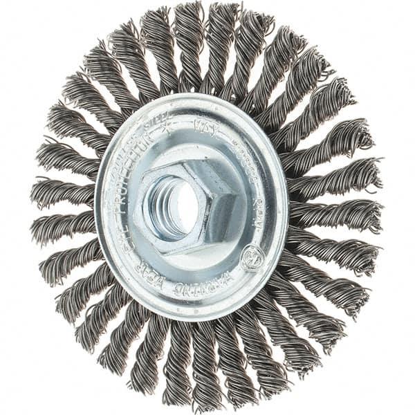 Wheel Brush 4 x 5//8 in Stainless Steel Threaded Arbor Stringer Bead Twist New