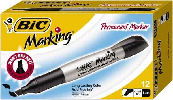 Marking Permanent Markers Dozen GPM11-BK Fine Point Tuxedo Black BIC DMi DZ