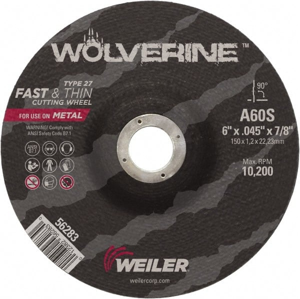 A60S Grit 6 Diameter 0.045 Thickness Type 27 Thin Cutting Wheel Weiler 7//8 Arbor