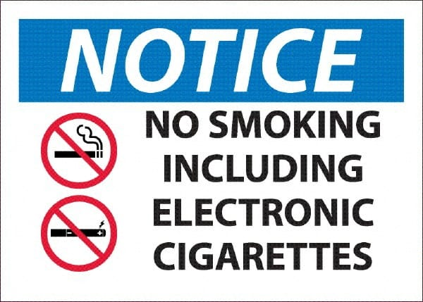 7 Width x 7 Height Pressure Sensitive Vinyl No Smoking Red//Black on White NMC S1P Safety Sign with Graphic