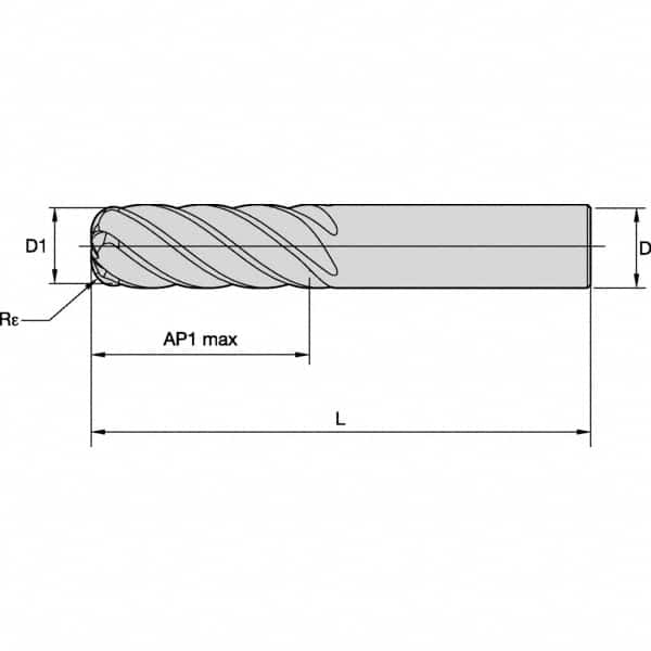 CRE-001-437X CRE AlTiN Number of Flutes: 3 Micro 100 Corner Rounding End Mill 0.1200 Milling Dia