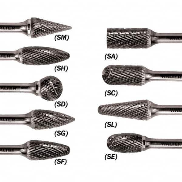 Single Cut Carbide Burr Cylindrical SA-9 1//4 x 1 x 1 x 2 3//4