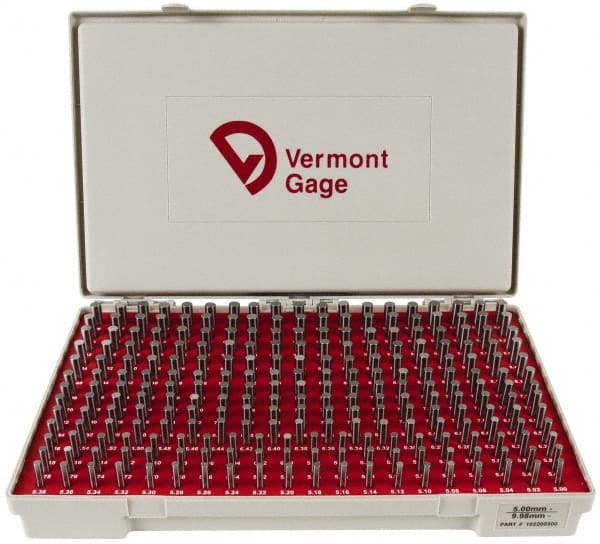 Set of 250 0.2510-0.5000 Gage Diameter Tolerance Class ZZ Vermont Gage Steel No-Go Pin Gage Set Black Oxide