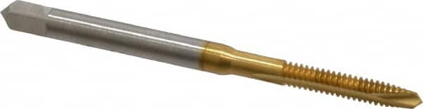 H2 2 Flute TiN Coated Hertel #8-32 UNC High Speed Steel Spiral Point Tap ...