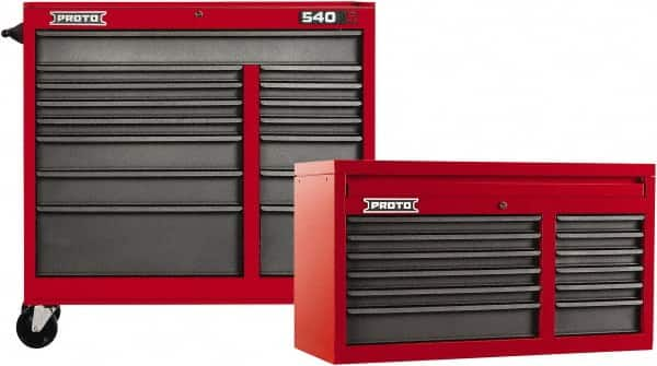 Proto - 27 Drawer, 2 Piece, Red/Gray Steel Chest/Roller