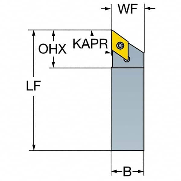 SNMG 432 Insert Size 6 Length x 1.25 Width Square Shank External 45 Degree Entering Angle 1 Width x 1 Height Shank Rigid Clamp Steel Sandvik Coromant DSSNL 16 4D Turning Insert Holder Left Hand