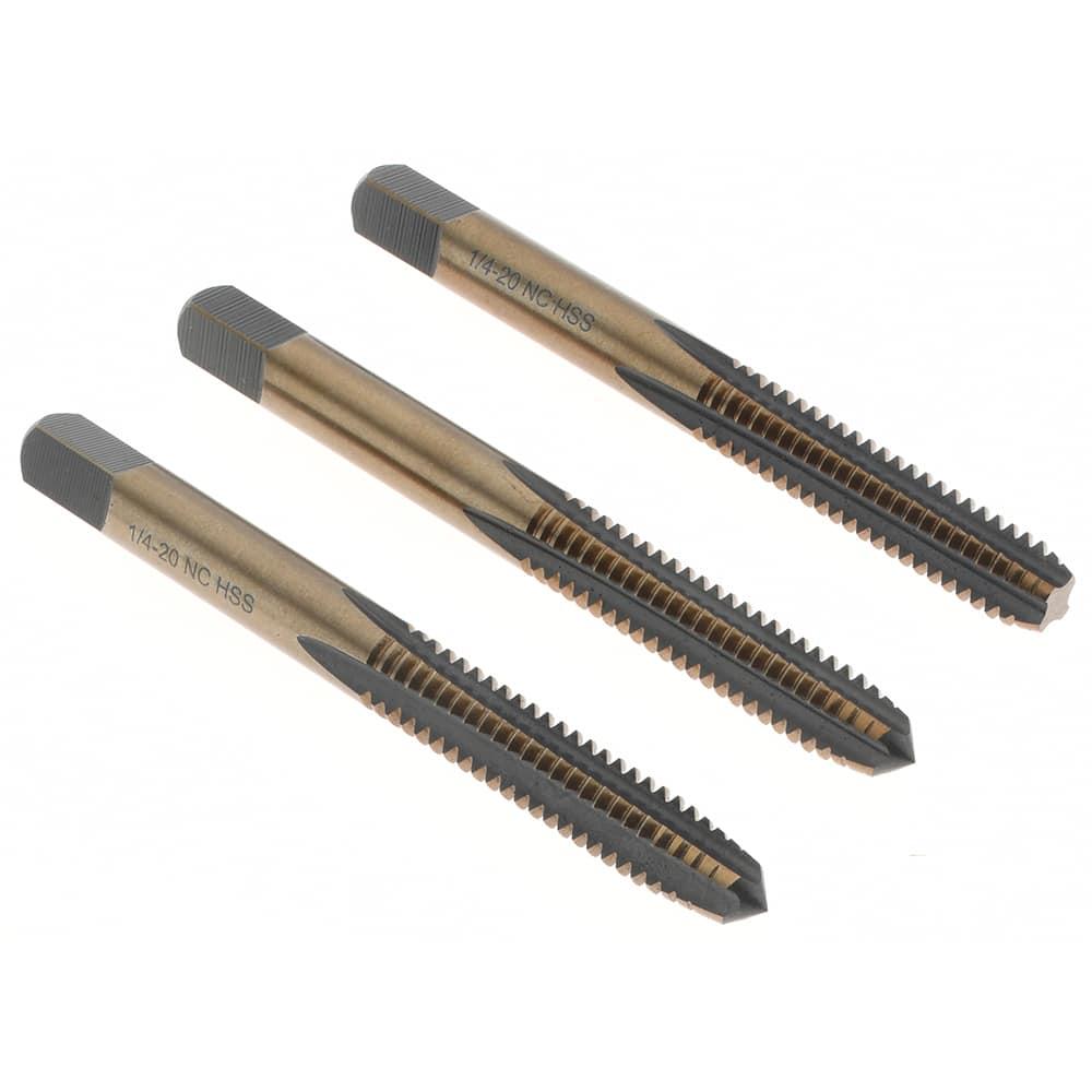 HSS Oxide//Gold Finish 1//4-20 UNC HAND TAP SET 4 Flute Bottoming Plug /& Taper