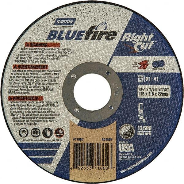 """66252843171 NORTON CutOff Wheel,Blue Fire,4/""""x1//16/""""x3//8/"""""""