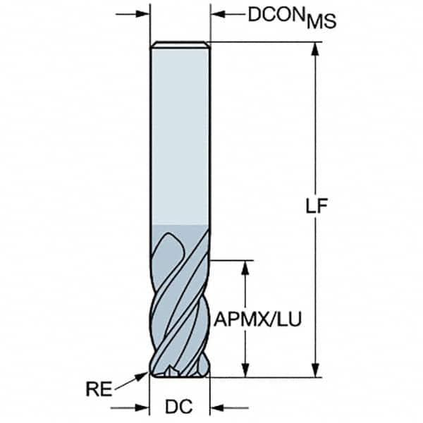 Aluminum Titanium Nitride Coating 8 mm Shank Diameter 63 mm Length 8 mm Cutting Diameter SGS 40019 1MCR 4 Flute Corner Radius General Purpose End Mill 20 mm Cutting Length 1.5 mm Corner Radius
