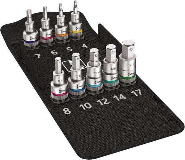 "Sizes: 4 17 /& 19mm 10 14 12 5 6 8 10pc 1//2/"" Drive Hex Bit Socket Set"