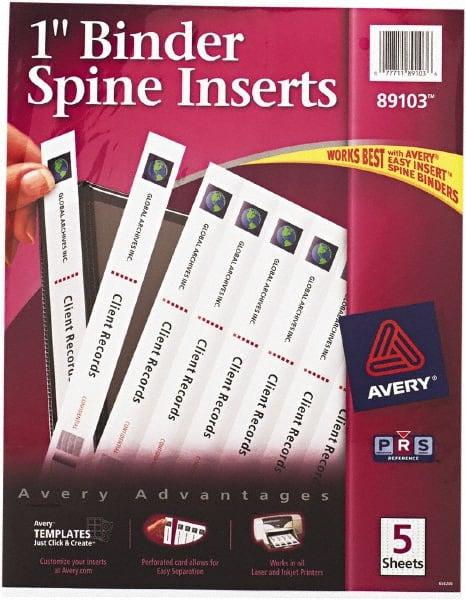 8 8 binder spine inserts white 52048048 msc