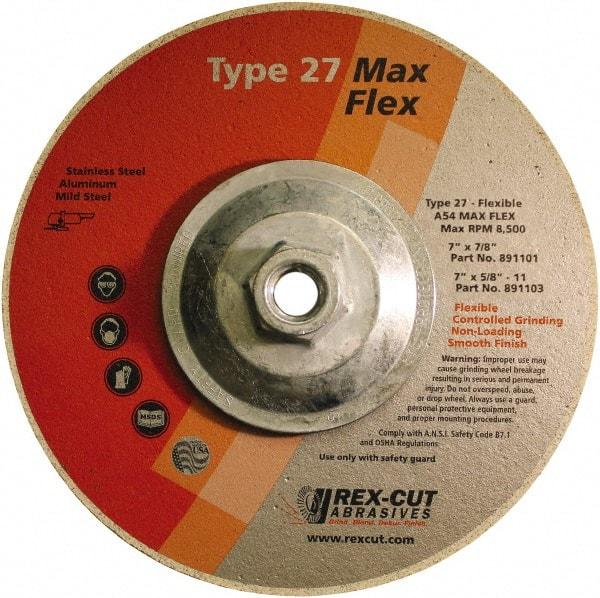 """7 X 1//4 X 7//8 REX-CUT 7/"""" Depressed Center Wheels for ALUMINUM Type 27"""