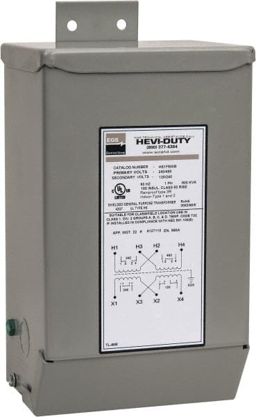 1 phase, 240-480 volt input, 120/240 volt output, 60 hz, 0 5 kva, general  purpose transformer