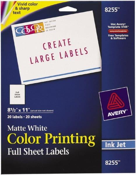 White Full Sheet Label 81629446 Msc