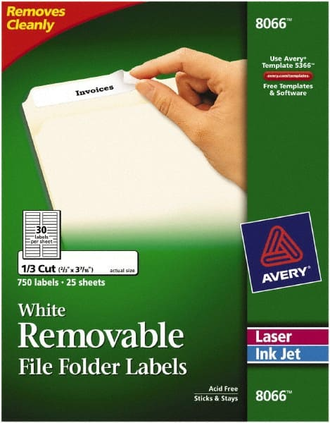 750 Pack 8066 New Free Ship Avery Removable White File Folder Labels