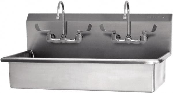 SANI LAV 40x20x18inches W/2 Faucets 2 Person Floor Mount Sink 54WFL