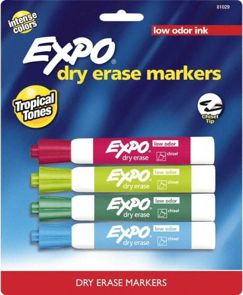Expo Aqua Lime Pink Plum Low Odor Chisel Tip 4 Pack