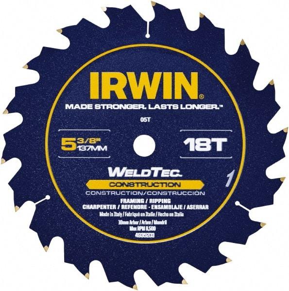 Irwin  Marathon  5-1//2 in Dia x 10 mm  Carbide  Circular Saw Blade  18 teeth