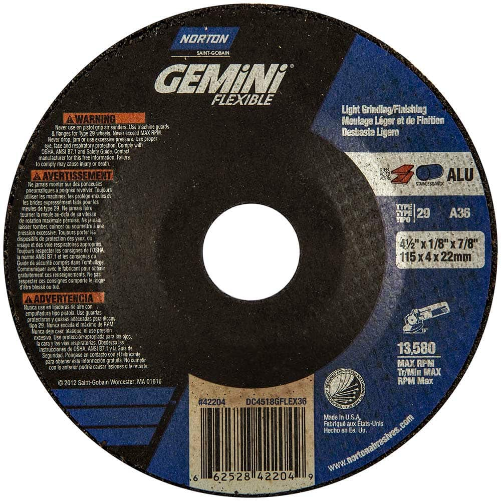 1//4 in Thick 91 Pack 24 Grit Alum Oxide 7 in Dia Depressed Center Wheel