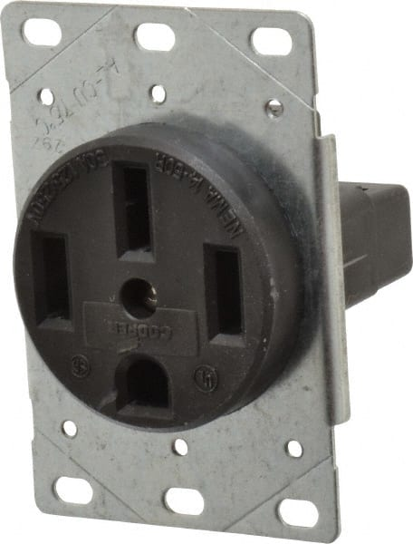 50 Amp Receptacle >> Cooper Wiring Devices 125 250 Vac 50 Amp 14 50r Nema Configuration Black Industrial Grade Ungrounded Single Receptacle 60512621 Msc