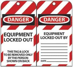 /'Equipment Locked Out.../' Pack of 10 Lockout Tagout Tags