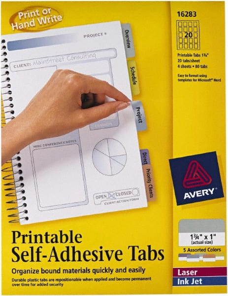 photograph relating to Printable Self Adhesive Tabs named AVERY - 1 3/4 x 1\
