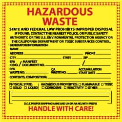 nmc safety message type hazardous materials legend hazardous waste - Hazardous Waste Labels