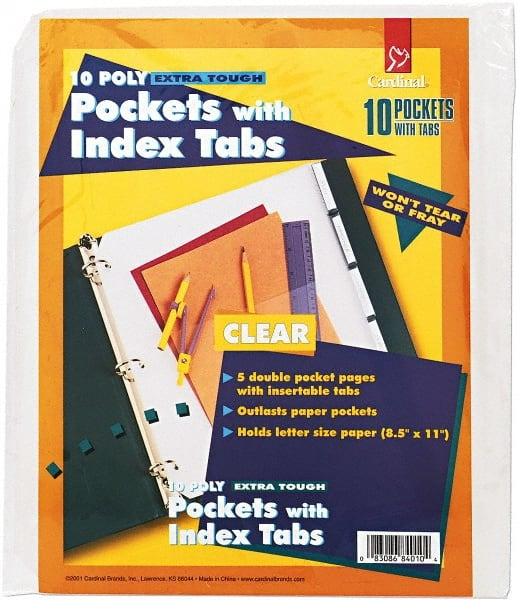 3//Pack 9 x 11-1//2 Clear Smead Poly Ring Binder Pockets