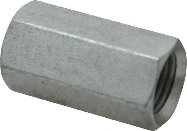"""1-1//8/"""" Long 3//8/""""-16 Thread Size Zinc-Plated Steel Coupling Nut Low-Strength"""