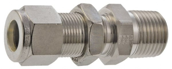 3//8 in Male JIC 37/° Flare x 3//8 in Male JIC 37/° Flare Bulkhead Straight Adapter Steel 24 Units Brennan