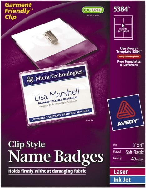 badge holders attachment type clip on 66815812 msc rh mscdirect com Avery Name Badge Template 5392 Avery 3X4 Name Badge Template