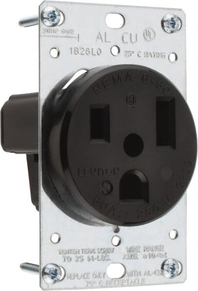 50 Amp Receptacle >> Leviton 250 Vac 50 Amp 6 50p Nema Configuration Black Industrial Grade Self Grounding Single Receptacle 67455352 Msc Industrial Supply