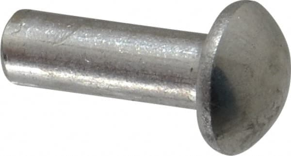Pack of 1 Pound - Approximately 690 Pieces 1//8 X 1 Solid 1100F Aluminum Rivet with A .222 Diameter Round Head Plain Finish